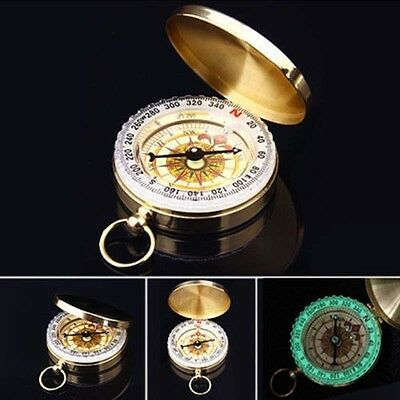 Vintage Brass Pocket Watch Style Military Army Compass Camping Hiking Antique