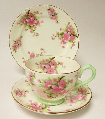 Tea cup Trio English vintage china pink green flowers  New Chelsea Staffordshire