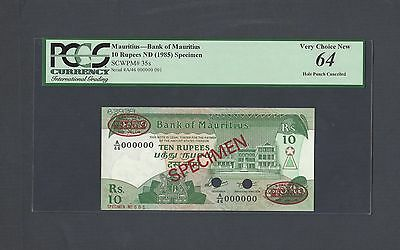 Mauritius 10 Rupees ND(1985) P35s Specimen TDLR N1 Uncirculated