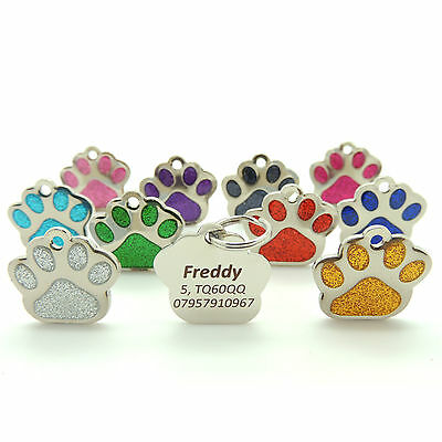 Personalised Engraved Pet Tags, BOLD TEXT, 27mm Glitter Paw Print. Cat, Dog Tags