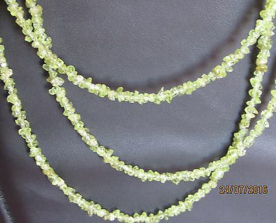 Collier 3 rangs péridot pierres naturelles (PI01)