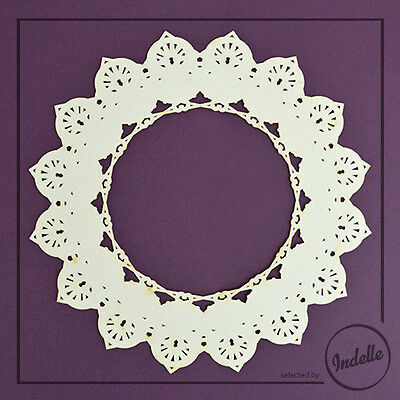 Lace Circle Ornament Chipboard Shape Cardmaking Papercraft Scrapbooking
