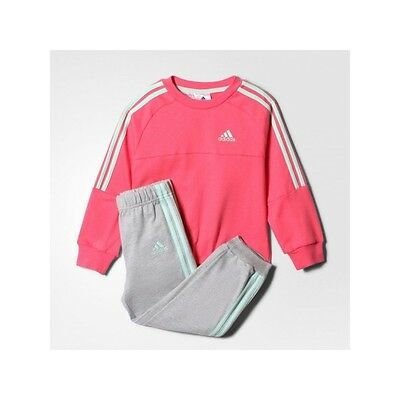 adidas girls pink/grey infant/baby tracksuit. Jogging suit. Sizes 0-12 months