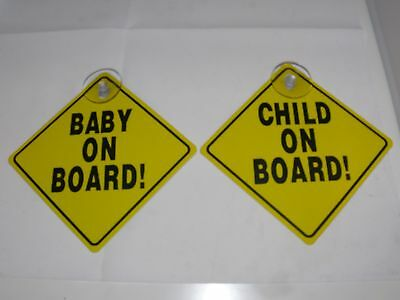Twin Pack  Baby  On Board Sign Child On Board Sign Suction Cups **new**