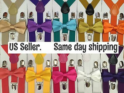 Kids Boys Girls Toddler 2 Pcs Set Suspenders Bow Tie Outfit US Seller