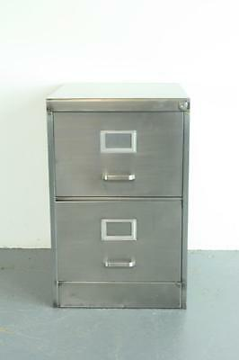 Vintage Industrial Stripped Steel 2 Drawer Filing Cabinet #1997