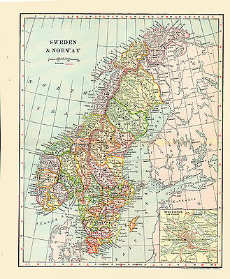 1902 Color Map of SWEDEN and NORWAY - Inset of STOCKHOLM