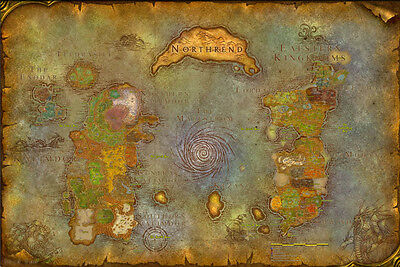 Wow Map Tmor Azeroth world map of warcraft Art Silk Poster 24x36