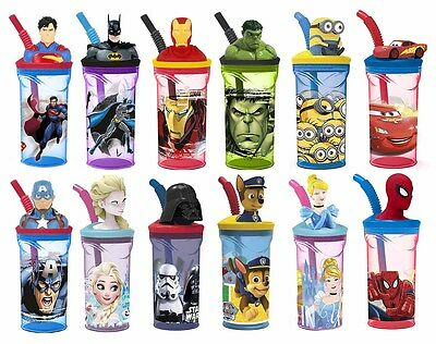 Kids 3D Character Drinking Tumbler Water Bottle With Expanding Straw