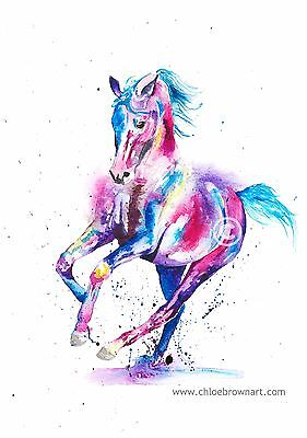 Original contemporary watercolour painting art A4 equine horse animal cantering