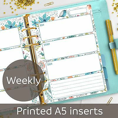 A5 Weekly planner inserts - Week on 2 pages - Filofax A5, Kikki K, Carpe Diem