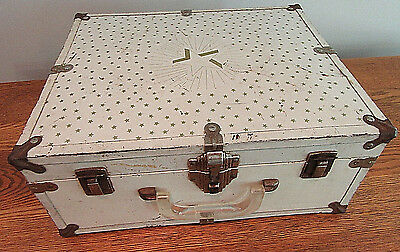 Vintage Antique Small Metal Chest Trunk Child's Gold Stars No Key 15.5 x 12.5