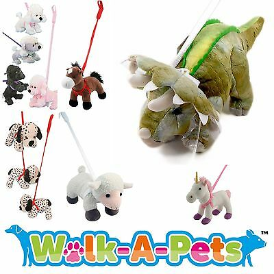 "WALK A PET - Plush 16"" Dinosaur Unicorn Poodle Soft Toy On Rigid Lead - Assorted"