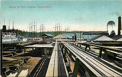 Vintage Postcard Loading Docks At Port Ludliow Puget Sound WA Unposted