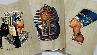 3 Egyptian Papyrus, King Tut, Q. Cleopatra, Q. Nefertiti, 12x16 Cm Hand Painted,