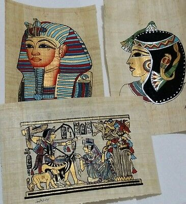 Lot of 3 Egyptian Papyrus, K. Tutankhamen, Q. Cleopatra, 12x16 Cm, Hand Painted,