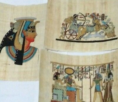 3 Egyptian Papyrus, HOURS, King Ramses II, Queen Cleopatra 12x16Cm Hand Painted،
