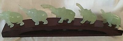 Vintage High Quality Nephrite Celadon Jade Elephant Statues Set 5 Piece + Stand
