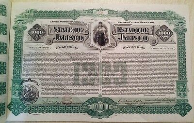 Mexico Mexican 1898 State Estado Jalisco 1000 Pesos Oro Gold RARE Coups UNC Bond