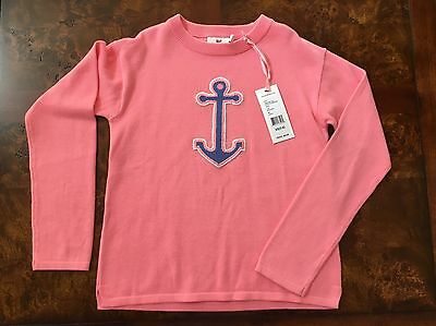 Vineyard Vines Pink Picstitch Anchor Sweater Girls size 5-6 New