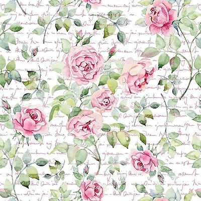 Dollhouse Miniature Shabby Chic Wallpaper Pink Roses Floral 1:12 Flowers