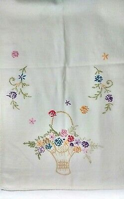 Vintage Handmade Embroidered Floral Bouquet Cotton Table Runner 36 x 11