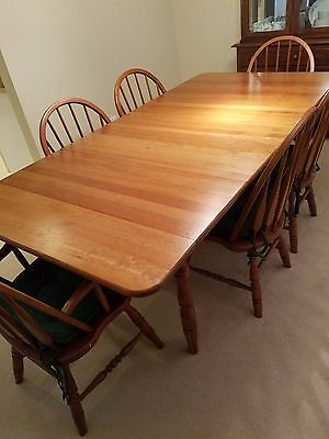 Prime Amish Made Solid Cherry Dining Table 6 Chairs Custom Table Pad Leaf Pad Cab Beutiful Home Inspiration Xortanetmahrainfo