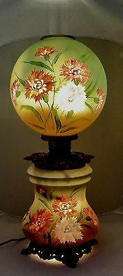 """VICTORIAN GONE WITH THE WIND Oil-to-Electric Lamp.BOTH Globes Light. 28""""T.1870"""