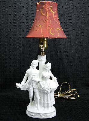 German White  Porcelain Boudoir Figural Lamp with Burgundy Shade
