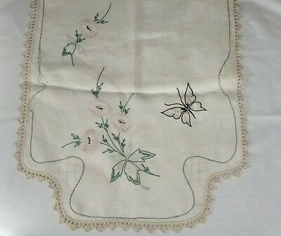 Vintage Handmade Embroidered Butterfly Floral Linen Table Runner Crocheted Edge