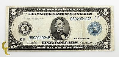 Series of 1914 $5 Federal Reserve Large Note White/Mellon (Fine Condition)