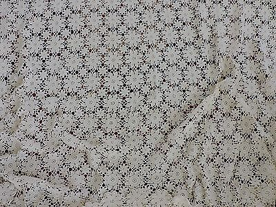 Vintage hand crochet net lace Bed cover with floral pattern