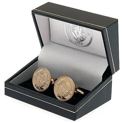 Manchester City Fc Gold Plated Shirt Cufflinks Cuff Links Boxed New Gift Xmas