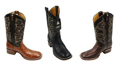 Men's Rodeo Cowboy Boots Genuine Ostrich Print Leather Boots