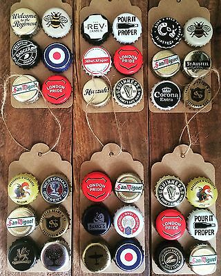 Handmade Beer Bottle Cap Magnets Fridge Strong Collectable Fun Quirky (x6)