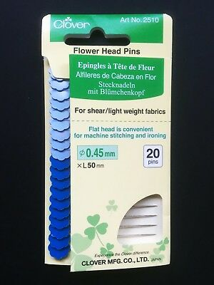 Clover Fine Flower Head Pins  20 x (ø0.45mm x 50mm) Quilting - Design-Surgery®