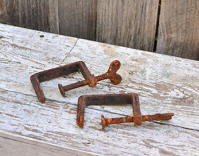 Antique Rustic Rusted C Clamps - Set of Two