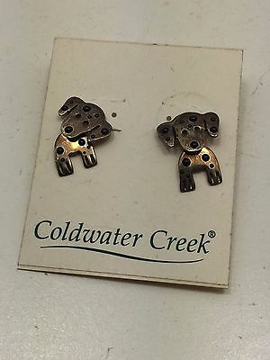 Rare Vintage Estate Sterling Silver Mechanical Dalmatian Puppy Dog Earrings Cute