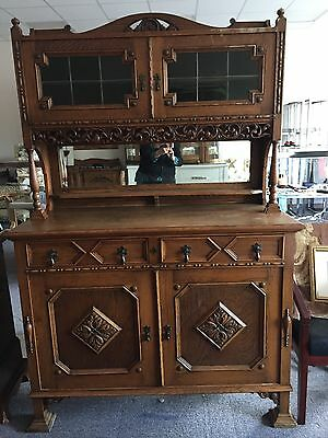 Vintage English Carved Hutch lots of Charm and Detail