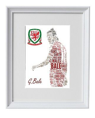 Bale Wales A4 Poster Word Art Truly Unique Image Euro 2016 France Football