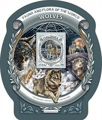 Z08 IMPERFORATED MLD16604b MALDIVES 2016 Wolves MNH