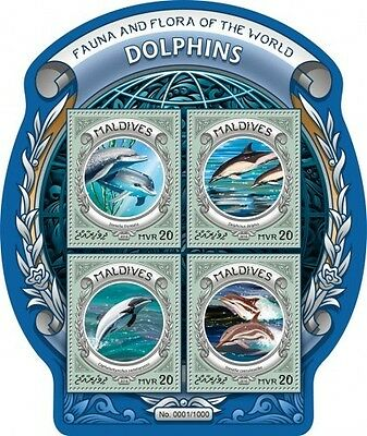 Z08 IMPERFORATED MLD16302a MALDIVES 2016 Dolphins MNH