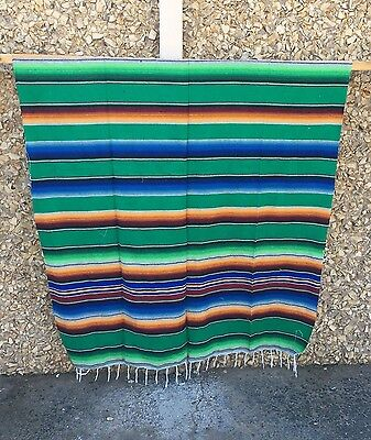 Serape XXL,5' X 7',Mexican Blanket,HOT ROD,Seat Covers,Motorcycle, GREEN  MIX