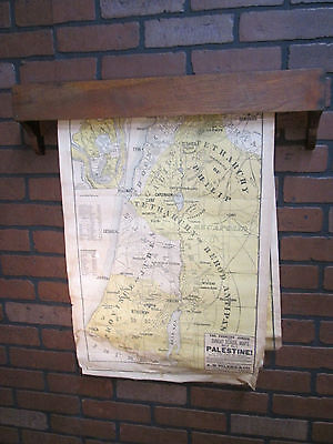 """Vintage Antique A. H. Eilers Sunday School Maps w/ Wooden Holder 25"""" by 18"""""""