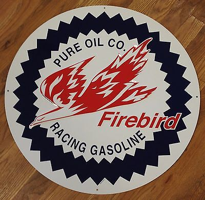 "Pure Oil Co Red Fire Bird Racing Gasoline Embossed Metal 23.5"" Advertising Sign"
