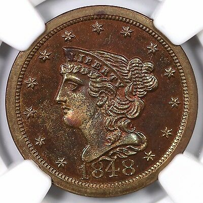 1848 1st Restrike R-5 NGC PF 66 RB Smll Berries Braided Hair Half Cent Coin 1/2