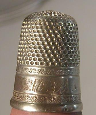 Antique M.B. #10 STERLING SILVER sewing BEAUTIFUL DECORATED THIMBLE Victorian