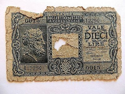 1944 Italy Ten (10) Lire Note