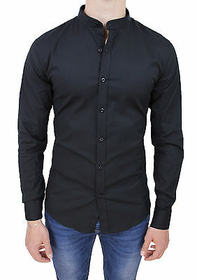 Camicia Uomo Casual Slim Fit Nero Con Colletto Alla Coreana In Cotone Stretch