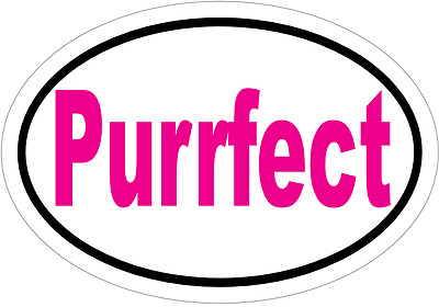 "Cat Feline Sticker Decal - Pink ""Purrfect"" Vinyl Decal Sticker"